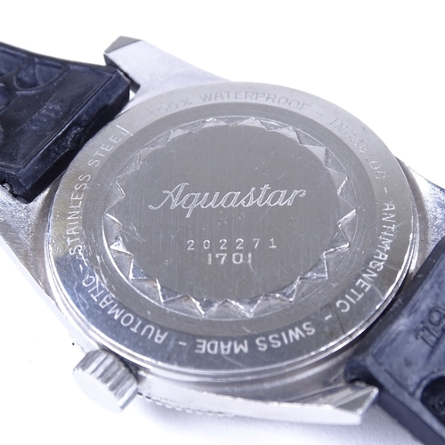 436 - JEANRICHARD - a stainless steel Aquastar automatic wristwatch, ref. 1701, circa 1960s, black dial wi...