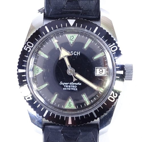 437 - BOSCH - a Vintage stainless steel Super Etanche Diver's mechanical wristwatch, black dial with lumin...