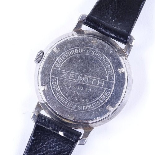 438 - ZENITH - a Vintage stainless steel mechanical wristwatch, silvered dial with quarterly Arabic hour m...