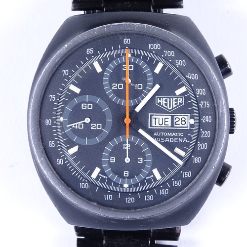 439 - HEUER - a Vintage anodised stainless steel Pasadena automatic chronograph wristwatch, ref. 750-501, ...