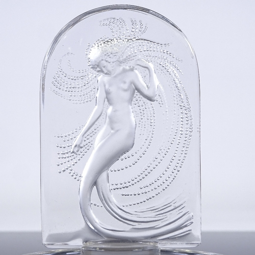 44 - LALIQUE GLASS - Mermaid design pin dish with relief moulded oval panel, engraved signature, height 1...
