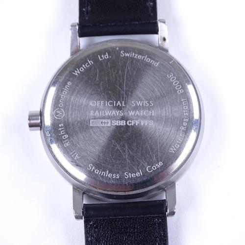 440 - MONDAINE - a stainless steel Classic Swiss Railways quartz wristwatch, white dial with black painted...