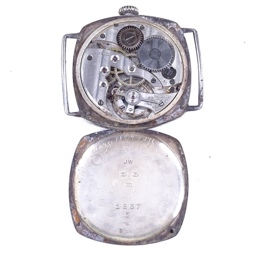 442 - A First War Period silver cushion-cased mechanical wristwatch head, silvered dial with Arabic numera...