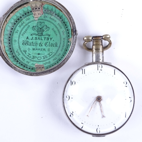454 - An early 19th century silver pair-cased open-face key-wind Verge pocket watch, by Jackson of London,...