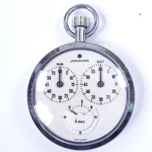456 - JUNGHANS - a Vintage German chrome-cased 1/10th second stopwatch, white dial with 3 subsidiary dials...