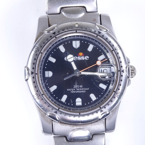 468 - ELLESSE - a stainless steel 200M quartz wristwatch, ref. 03-0015, black dial with luminous curved ba...