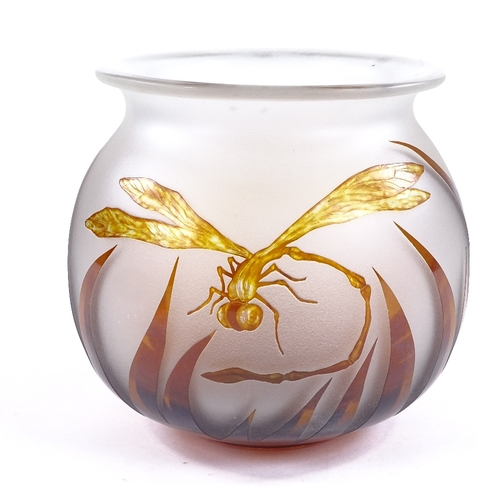 47 - An amber/frosted cameo glass dragonfly design bowl, indistinct signature, rim diameter 14.5cm, heigh...