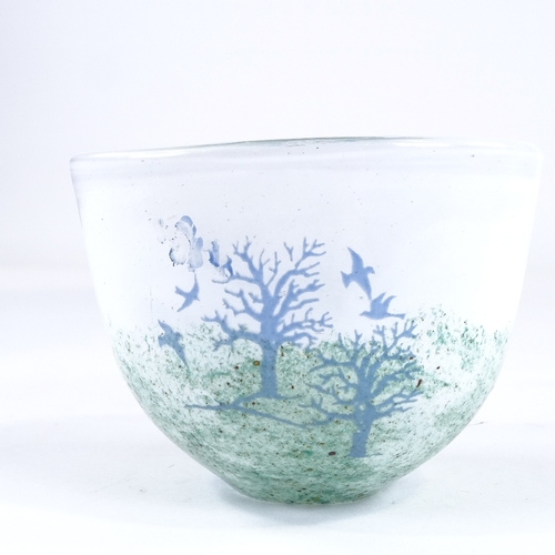 49 - KOSTA BODA - Studio glass bowl with painted landscape and tree designs, engraved signature under bas...