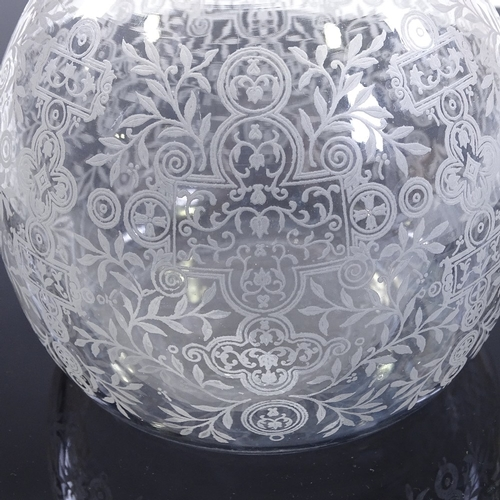 58 - BACCARAT - etched glass decanter with matching fan-shaped stopper, etched signature, height 22cm...