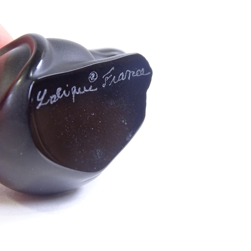 75 - LALIQUE - black glass miniature mouse, engraved signature, height 3.5cm...