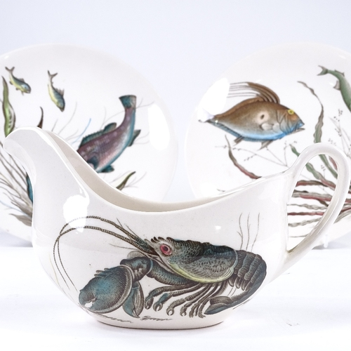 84 - The Johnson Brothers fish set, including a large oval salmon platter, length 66cm, sauce boat and st...