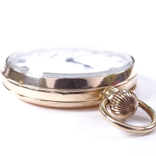 483 - An early 20th century 9ct gold open-face top-wind pocket watch, white enamel dial with painted Roman...