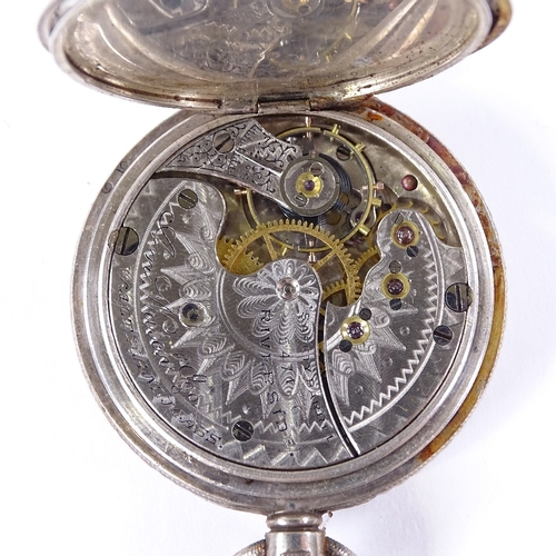 490 - 4 silver-cased pocket watches, including large Railway Timekeeper example, largest case width 58mm (...