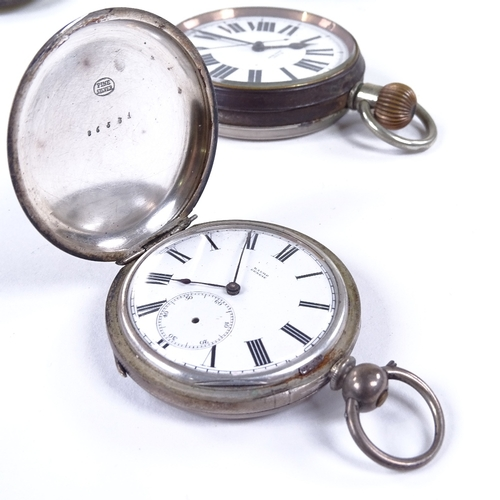 492 - Various pocket watches, including Art Deco gold filled example, nickel plate Goliath timepiece in si...