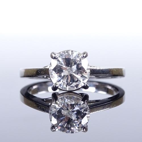 524 - A platinum 1.05ct solitaire diamond ring, diamond measures: diameter - 6.85mm, depth - 4.14mm, size ...