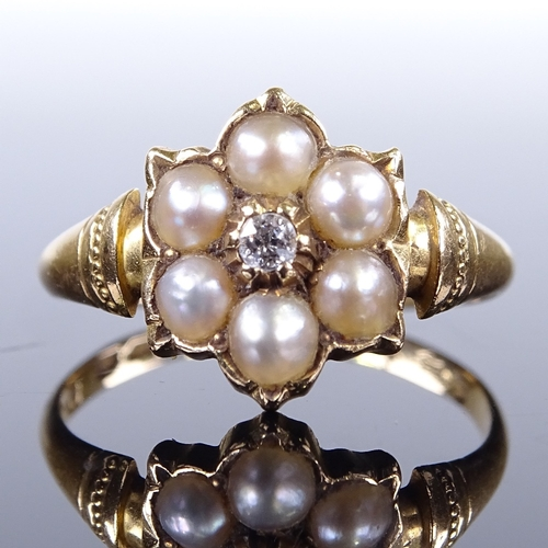 525 - A 19th century 18ct gold split pearl and diamond cluster flowerhead dress ring, maker's marks AA, ha...