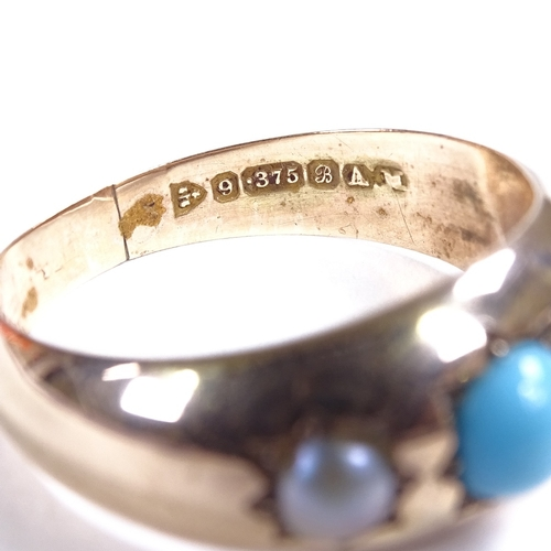 535 - An early 20th century 9ct rose gold 3-stone cabochon turquoise? and split pearl gypsy ring, maker's ...