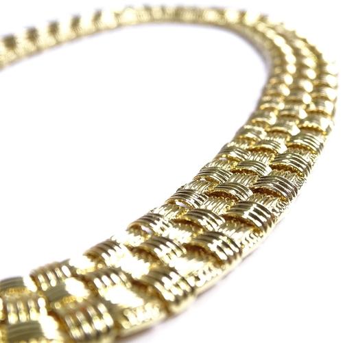536 - ROBERTO COIN - an Italian designer 2-tone 18ct gold Coin Classics Appassionata necklace, 3-row baske...