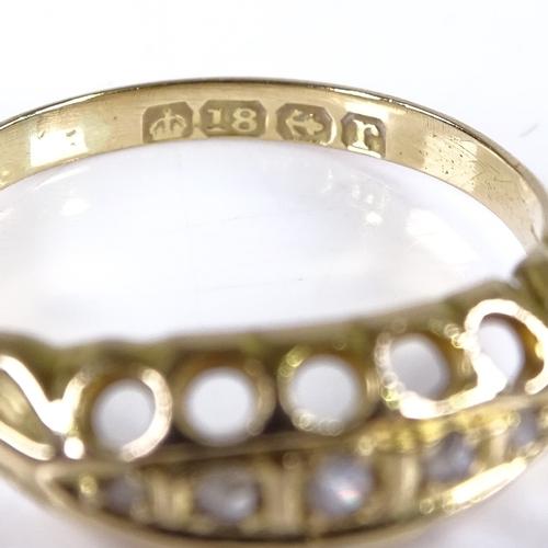 563 - An early 20th century 18ct gold graduated 5-stone diamond half hoop ring, hallmarks Birmingham 1916,...