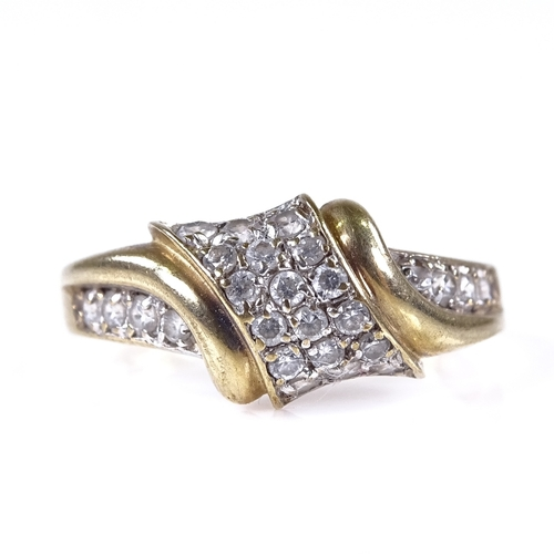 565 - A modern 9ct gold diamond cluster dress ring, setting height 9.1mm, size P, 1.8g...