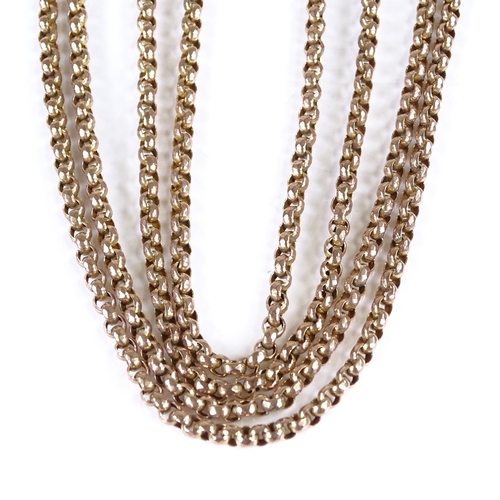 591 - A 19th century 9ct gold belcher link long guard/muff chain, with 9ct dog clip, chain length 146cm, 2...
