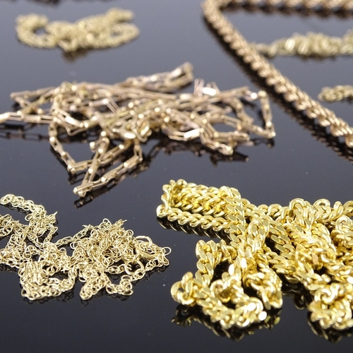 597 - Collection of various English and Continental 9ct gold chain necklaces, including anchor link, box l...