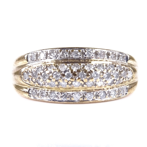 604 - A modern 9ct gold diamond cluster dress ring, total diamond content approx 0.4ct, setting height 8.7...
