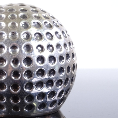 609 - A modern Continental silver golf ball table lighter, maker's marks BR, diameter 8cm, 3.5oz weighable...