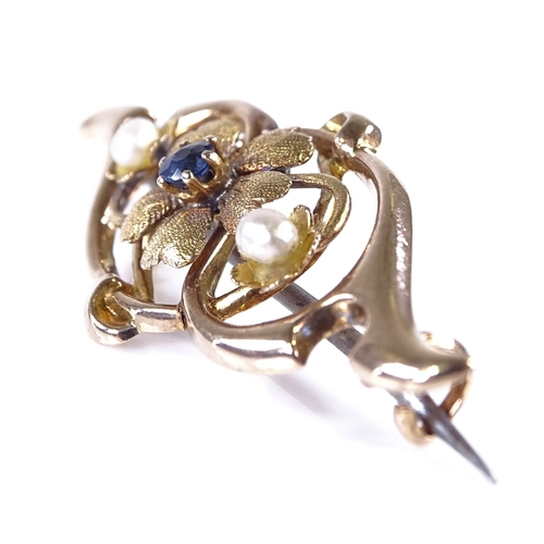 614 - An early 20th century 15ct rose gold 3-stone sapphire and pearl floral brooch, hallmarks Chester 191...