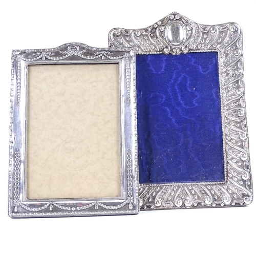 616 - 2 Victorian and Edwardian silver-fronted photo frames, relief embossed floral decoration, largest ov...