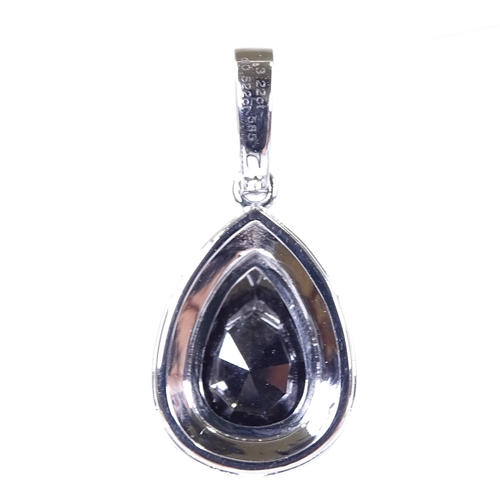 632 - A 14ct white gold black and colourless diamond cluster pendant, pear-cut black diamond approx 3.22ct...