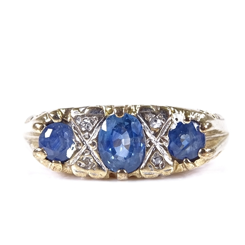 635 - A modern 9ct gold 7-stone sapphire and diamond half hoop ring, engraved scrollwork settings, setting...