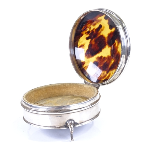 639 - A George V silver and tortoiseshell jewel box, circular form with scalloped decoration, by E S Barns...