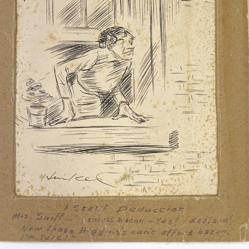 1177 - Early 20th century British School, pen and ink illustration, signed, with monogram, 7.5