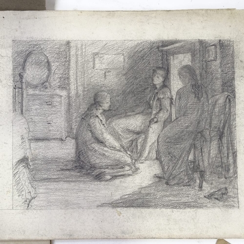 1179 - A group of various ink/pencil drawings, circa 1910, unsigned...