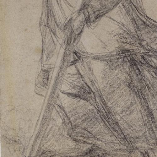 1182 - Giovanni Biliverti (1585 - 1644), pencil drawing, study of Saint Bernard of Clairvaux, circa 1620, s...