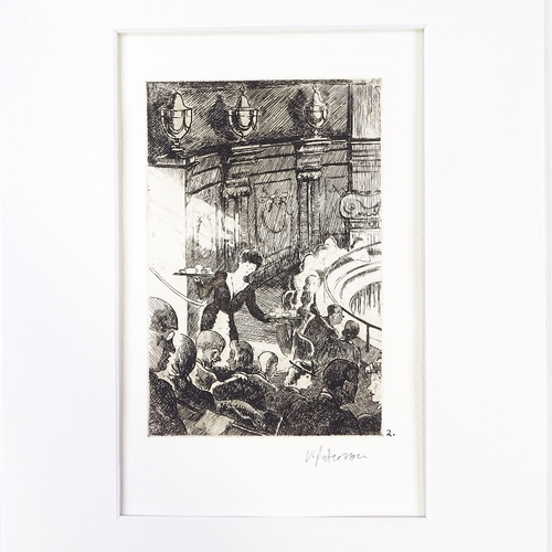 1185 - Viola Paterson (1899 - 1981), etching, interval at the theatre, signed in pencil, plate 6
