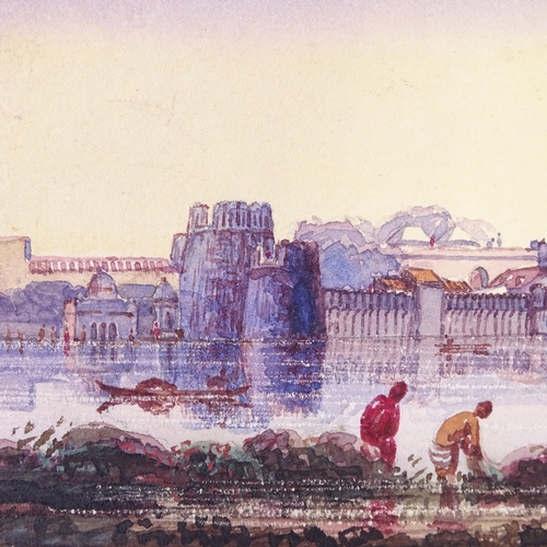 1188 - 19th century Indian School, watercolour, river scene with palace, 3