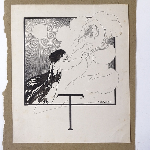 1192 - Sidney Herbert Sime (1867 - 1941), original pen and ink artwork, circa 1900, signed, sheet size 7