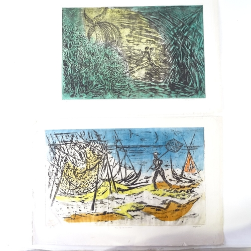 1198 - Dolf Rieser (1898 - 1983), 2 colour aquatints, abstracts, signed in pencil, plate 12