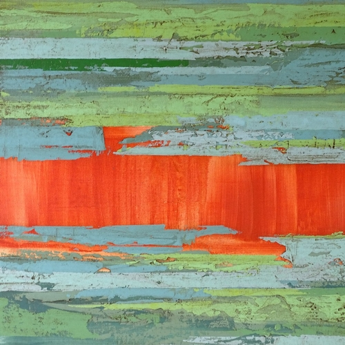 1205 - Sarah West, oil on canvas, green and red triptych, 2006, Exhibition labels verso, 30