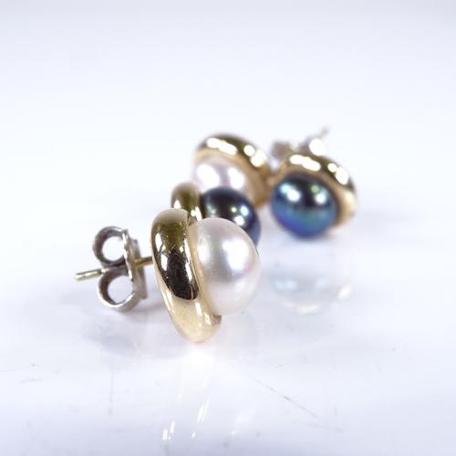 668 - A pair of handmade 14ct gold black and white pearl Toi Et Moi earrings, earring length 21.5mm, 4g...