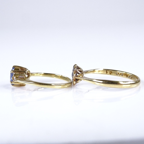 669 - 2 mid-late 20th century 18ct gold sapphire and diamond cluster dress rings, sized N/O and G, 3.7g to...