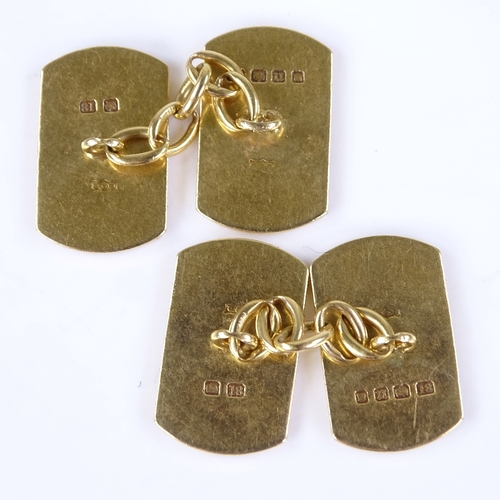 670 - A pair of early 20th century 18ct gold curved rectangular panel cufflinks, engine turned decoration,...