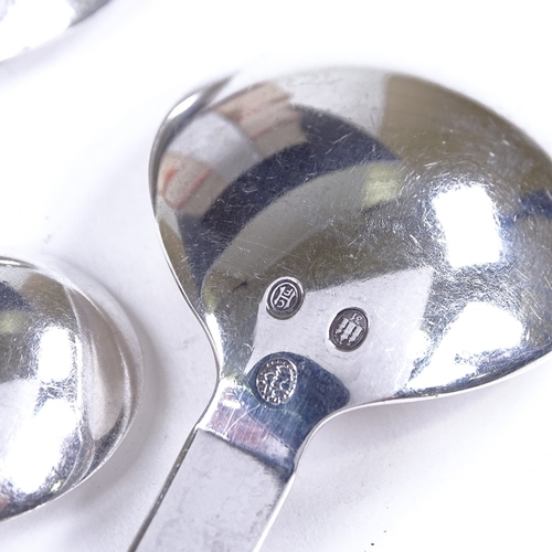 673 - GEORG JENSEN - 3 Danish sterling silver parallel pattern (relief) spoons, designed by Oscar Gundlach...