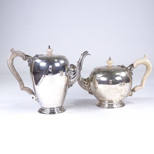 674 - An Elizabeth II silver 4-piece tea and coffee set, comprising, teapot, coffee pot, 2-handled sugar b...