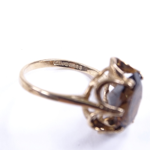 676 - A late 20th century 9ct gold smoky quartz dress ring, hallmarks London 1989, setting height 16.1mm, ...