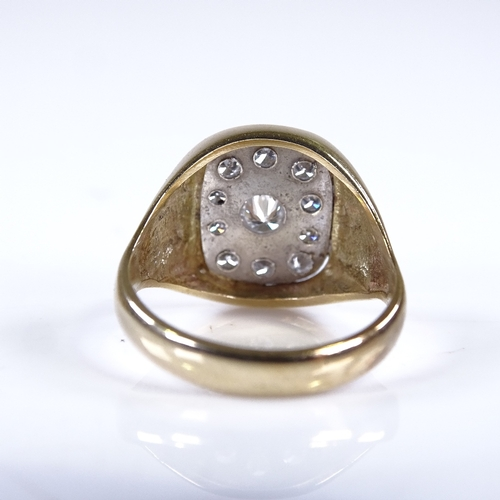 683 - A unmarked gold diamond cluster signet ring, total diamond content approx 0.5ct, setting height 14.2...