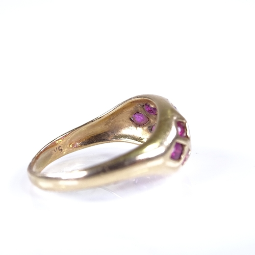 688 - A Continental 14ct gold ruby cluster bombe dress ring, setting height 9.9mm, size P, 4g...
