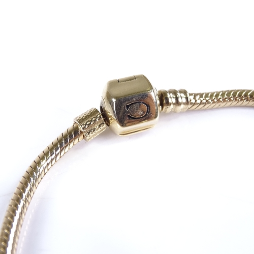 698 - CHAMILIA - a modern 14ct gold snake link charm bracelet, and 3 Chamilia 14ct Swarovski Crystal charm...